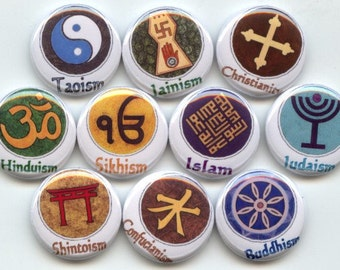 "WORLD RELIGIONS religious Diversity symbols 10 Pinback 1"" Buttons Badges Pins"