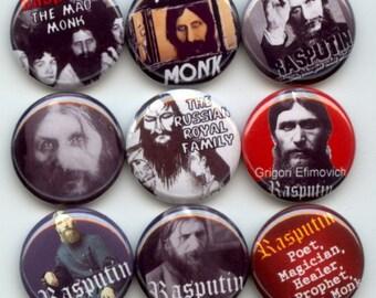 "RASPUTIN Russian Mystic Mad Monk 9 Pinback 1"" Buttons Badges Pins"