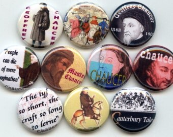 """Geoffrey CHAUCER Canterbury Tales 10 Pinback 1"""" Buttons Badges Pins"""