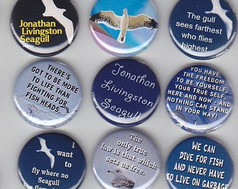 "Jonathan Livingston SEAGULL 9 Pinback 1"" Buttons Badges Pins"