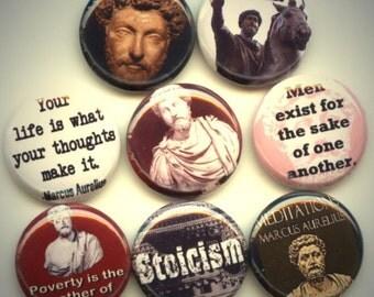 """Marcus AURELIUS Roman Emperor 8 Pinback 1"""" Buttons Badges Pins"""