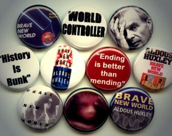 "Brave New World 10 Pinback 1"" Buttons Badges Pins"