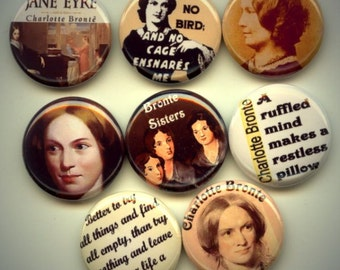 """BRONTE Classic Literature 8 Pinback 1"""" Buttons Badges Pins"""