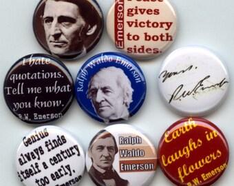 """Ralph Waldo EMERSON 8 Pinback 1"""" Buttons Badges Pins"""