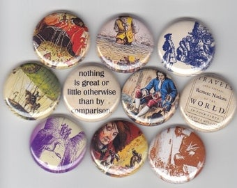 "GULLIVERS TRAVELS 10 Pinback 1"" Buttons Badges Pins"