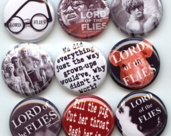 "Lord of the Flies 9 Pinback 1"" Buttons Badges Pins"
