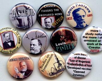 """Louis Pasteur 10 Pinback 1"""" Buttons Badges Pins"""