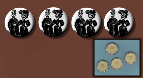 "DAY of the DEAD Bride n Groom SKELETONS Black n White 4 Altered Art 1"" Sew-On Shank Buttons"