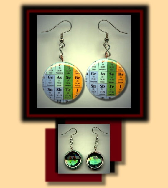 PERIODIC TABLE Chemistry Chemical Elements Altered Art Dangle Earrings with Rhinestone