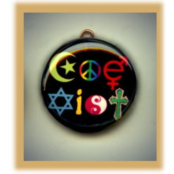 COEXIST RAINBOW Diversity Altered Art Charm Pendant with Rhinestone
