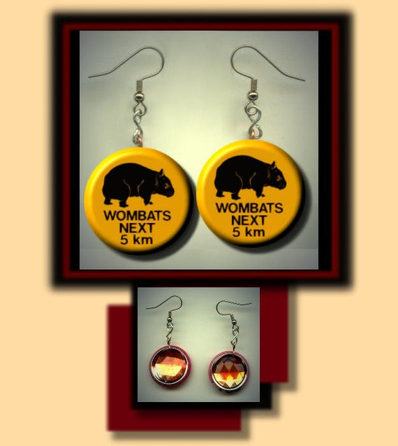 WOMBATS Road Sign Altered Art Dangle Earrings with Rhinestone