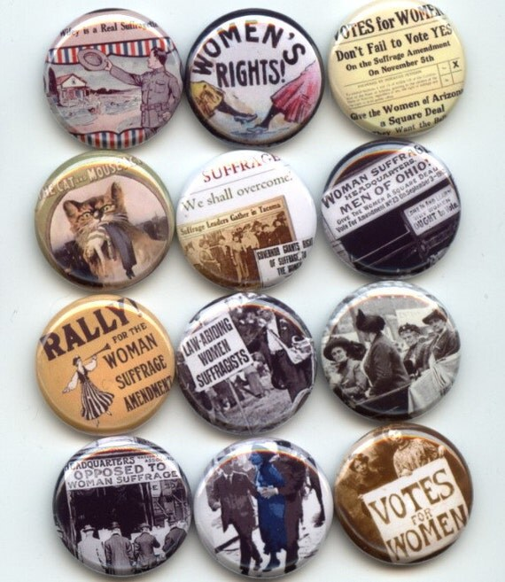 """SUFFRAGE Womens Rights Feminist Feminism 12 Pinback 1"""" Buttons Badges Pins"""