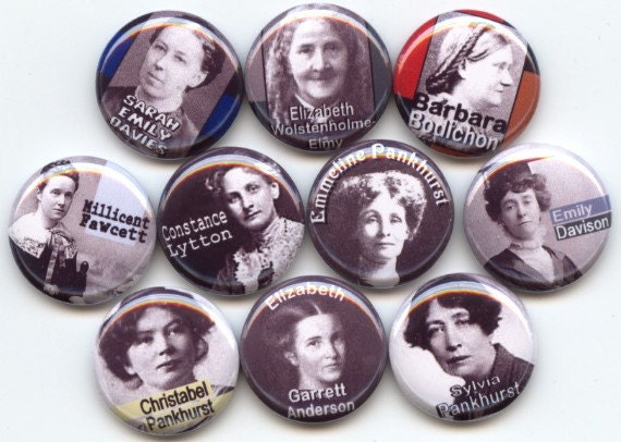 "SUFFRAGE Suffragettes BRITISH Feminist Feminism 10 Pinback 1"" Buttons Badges Pins"