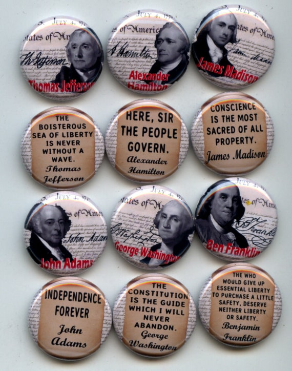 "FOUNDING FATHERS American Constitution 12 Pinback 1"" Buttons Badges Pins"