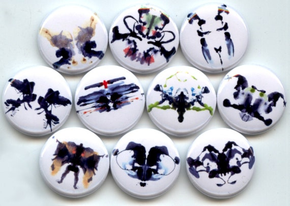 "INK BLOTS Rorschach Psychology 10 Pinback 1"" hand pressed Buttons Badges Pins"