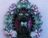 Kawaii Black Cat Goth Lolita Decoden Necklace