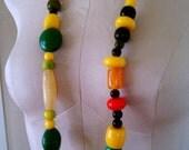 Vintage Bakelite Bead Necklace  Multi-Color Super Chunky Bakelite Bead Necklace