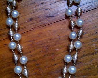Vintage Faux Pearl Double Strand Necklace - Made in Hong Kong