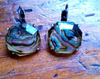 Vintage Lucite Faceted Green Abalone Pierced Earrings - FREE U.S. SHIPPING!