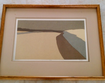 Vintage 1960s 1970s Abstract Lithograph signed by Artist Dreyfus - Landscape 2