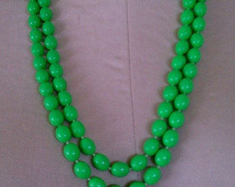 Vintage Opera Length Flapper Necklace / Double Strand Necklace / Triple Strand Green Necklace Hong Kong - FREE U.S. SHIPPING!