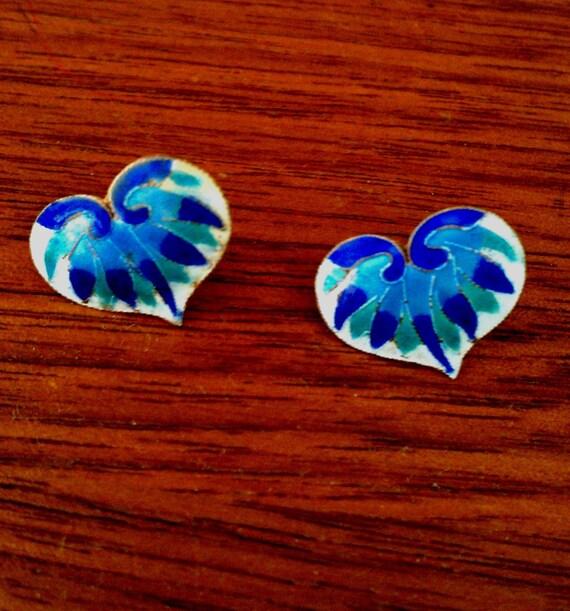 Vintage Blue Heart Earrings - Enamel on Copper Heart Earrings