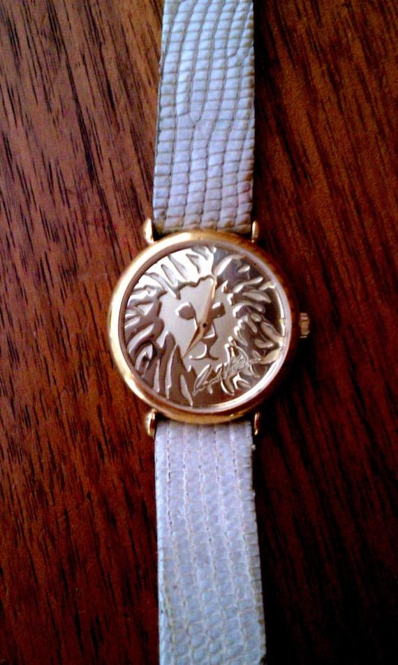 Vintage 1980s Anne Klein Couture Lion Face Watch