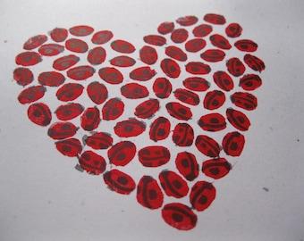 Ladybug Heart Original Linoleum Print