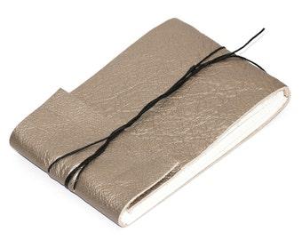 "Modern Leather Journal or Leather Sketchbook, Metallic Pewter, Medium Sized, Handbound Coptic Stitch - 3 3/4"" x 5 1/2"""