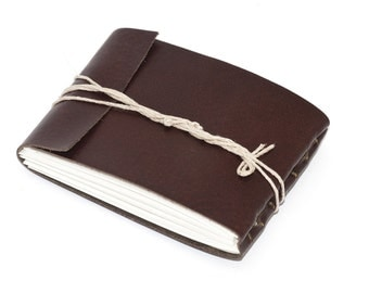 "Leather Journal or Leather Sketchbook, Mahogany Brown, Pocket Sized, Handbound Coptic Stitch - 2 3/4"" x 3 3/4"""