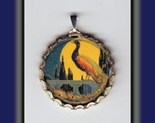 Beautiful Peacock at Night with Moon Altered Art Brass Charm
