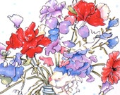 I Must Have Flowers - Mason Jar Floral Art Print - Monet Quote