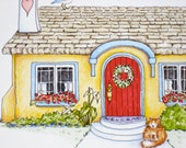 Home Quote Print. Cottage Art. House illustration. Where We Love is Home