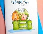 Funny Cat Thank You Card - Cat Lover Card - Contented Kitty