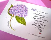 Inspirational Floral Print - Encouragement Art - Emerson Quote - Hydrangea Illustration - What Lies Within Us 5x7
