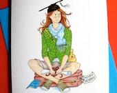 Graduation Card, Girl Graduate, Thoreau quote, Live your dreams - Go Confidently