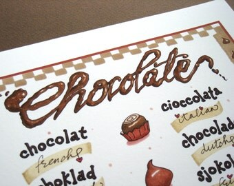 Chocolate in Different Languages Print - Chocolate Word Art - Chocolate Lover Gift - Hand Lettered Typography Print
