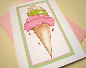 Ice Cream Cone Card - Summer Card - Ice Cream Gift Card - Ice Cream Cone Art Card - All Occasion Card