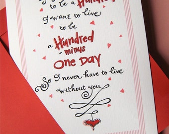 I Love You Card - Winnie the Pooh - Wedding Day Card - Anniversary Card - If You Live to be a Hundred