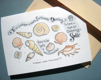 Seashell Card - Inspirational Card for Beach Lover - Shells Quote Card