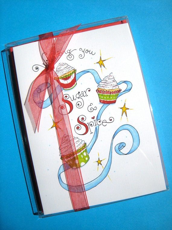 Cupcake Christmas Cards Set, Box of 10, Cupcake Art Cards - Sugar and Spice