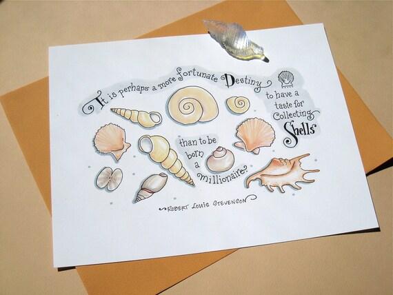 Shells Art - Nature Quote Print - Beach Decor - Pastel Wall Art