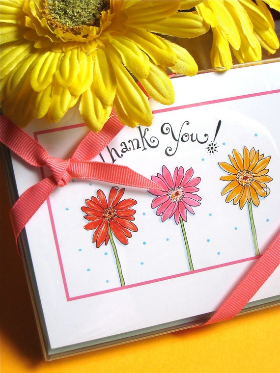 Thank You Notes - Gerbera Daisy Gift Stationery - Flower Note Cards Set