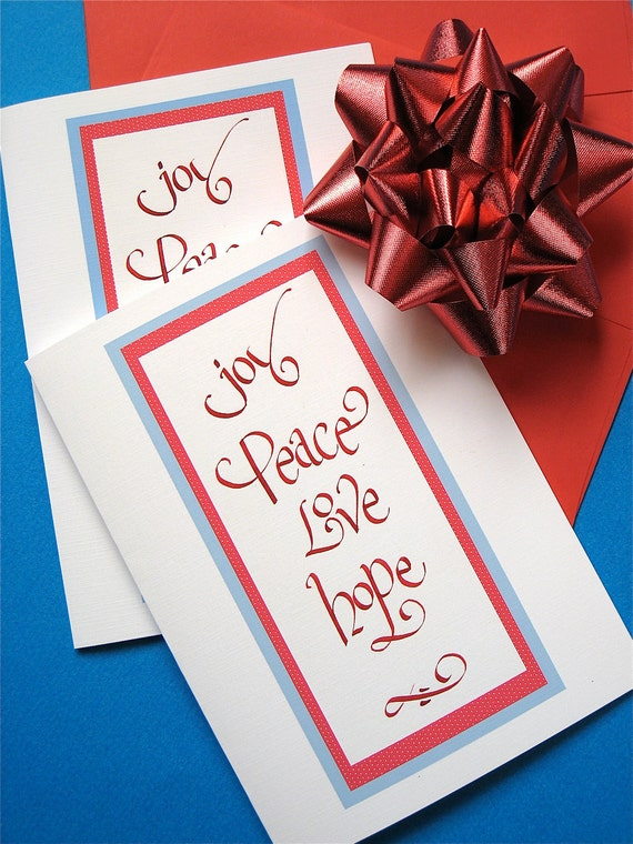 Joy, Peace, Love Christmas Cards - Hand Lettered - Box of 10 Cards