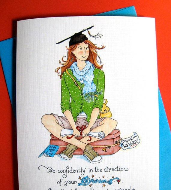 Go Confidently - Graduation Card, Girl Graduate, Thoreau quote