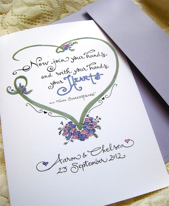Personalized Wedding Card - Wedding Quote - Custom Calligraphy Card - Bride and Groom Card
