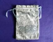 Triple Moon Tarot Bag - Silver Crushed Velvet