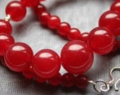 Red Jade Necklace - Classic Graduating Beads Jewelry Gift - BamalamCreations