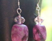 Purple and Pink Jasper Necklace and Earrings Set - Pretty in Pink, Semi Precious Gemstone, Pink Jade, Chunky Bead Jewelry