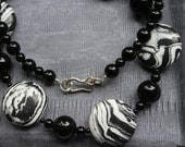 Black and White Necklace - Fun Funky Modern Jewelry, Zebra Striped Turquoise and Black Onyx